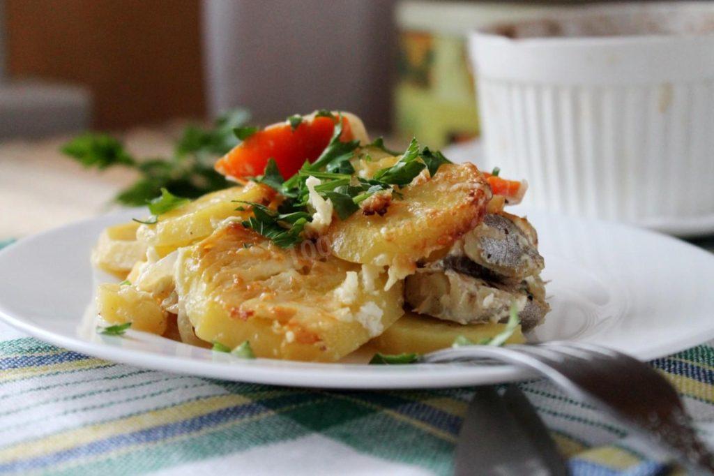 рецепт Судак, запечённый с картофелем