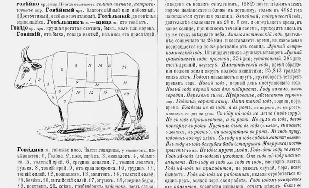 Словарь Даля Говядина