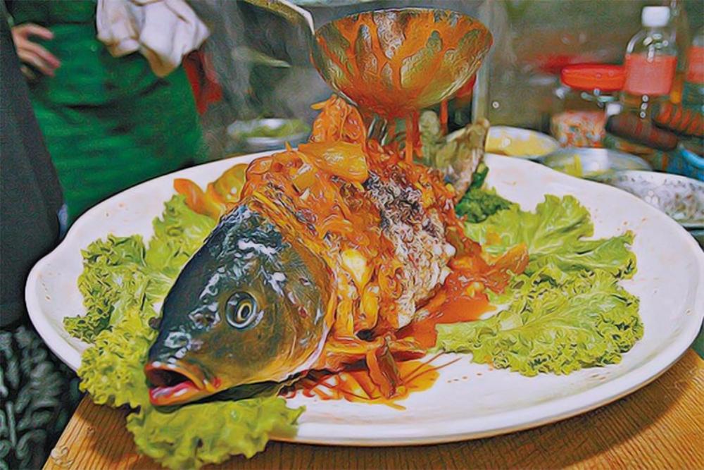блюда с живой рыбой