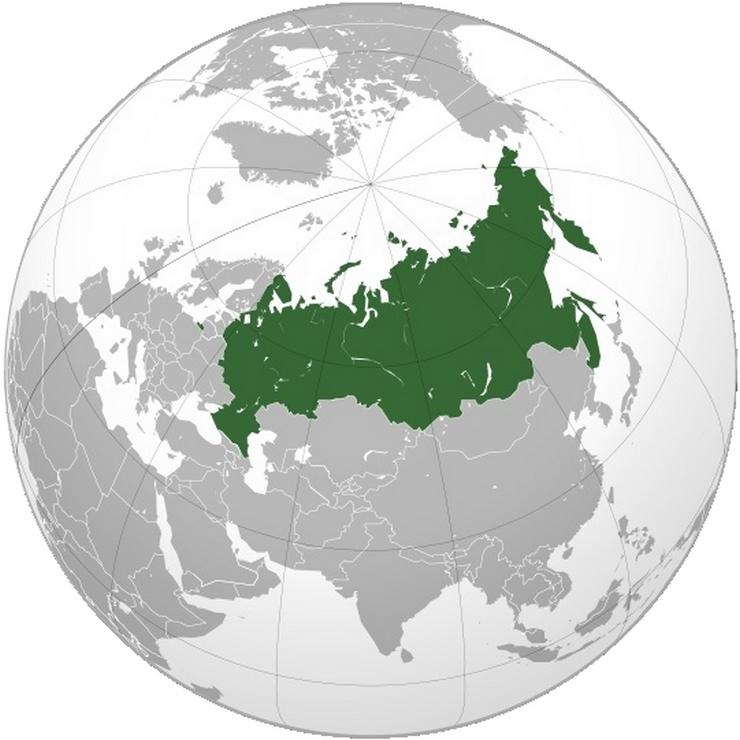 Напротив каких территорий нашей планеты расположена Россия?