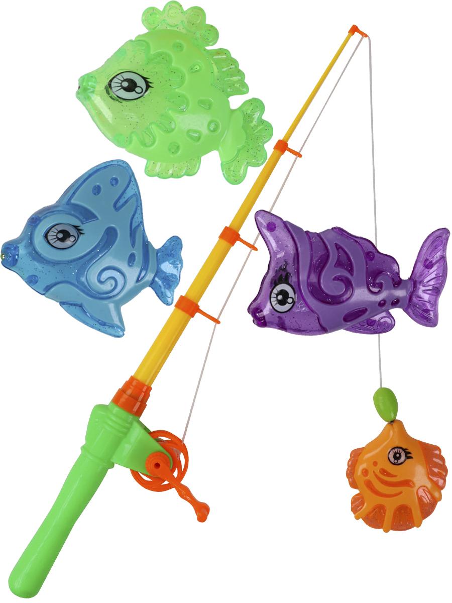 """Рыбалка пластиковая магнитная (20х50см) """"Удачная рыбалка"""" (4 рыбки,удочка,раскраска)"""