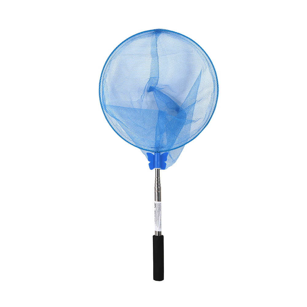 Сачок 100*24см, круглый, 2 цвета микс - розовый  и  синий, телескопическая метал. регулирующ. ручка