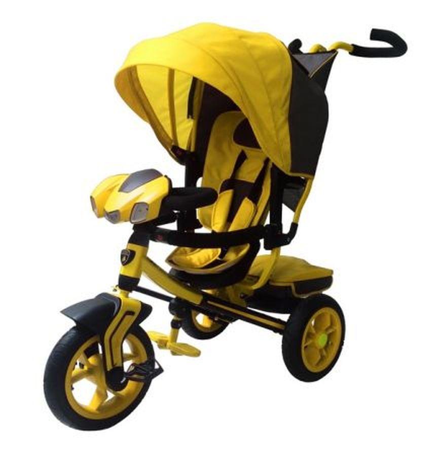 Велосипед 3-хколес. Lamborghini с фарой,3-мя положениями спинки(цвет : желтый)