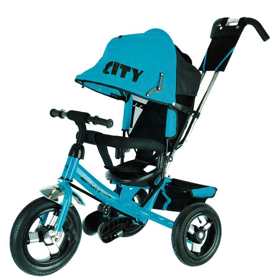 """Велосипед трехколесный """"CITY"""" колеса надувн.12"""" и 10"""",  регулир.ручка ,цвет: бирюзовый"""
