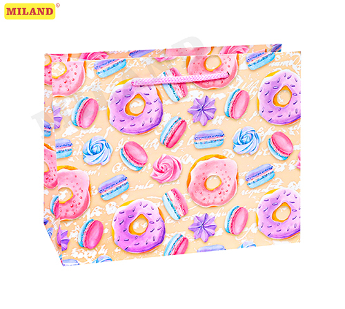 Пакет подарочный с глянц. лам. (горизонтальный)  23х18х10 см (M) Пончики и сладости, 157 г