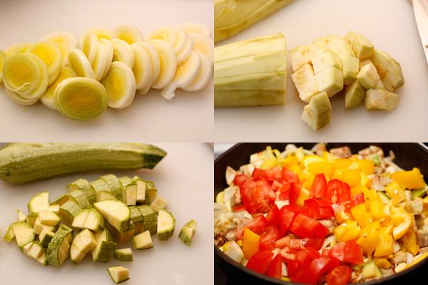 Белую часть порея нарежьте колечками. Баклажан очистите от кожицы, а перец от семян и нарежьте кубиками вместе с остальными овощами.