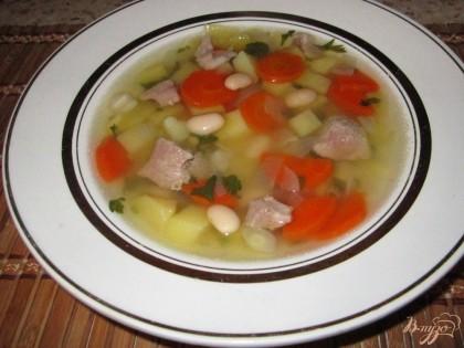 Готово! Дать супу настояться и подать на стол .Суп из фасоли со свининой готов!