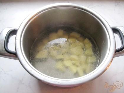 Пока квашеная капуста варится, начнем варить борщ. В кастрюлю с бульоном кладем картофель, нарезанный небольшими кубиками. У меня бульон свиной. Но можете взять любой.