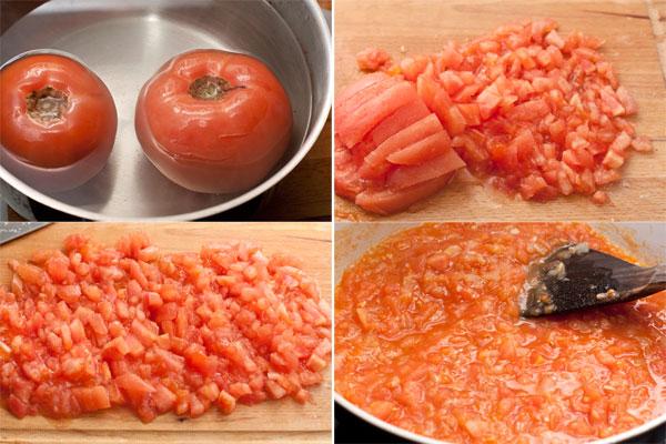 Если используете свежие помидоры, то опустите их в кипяток, подержите в нем около минуты и снимите кожицу. Мякоть мелко нарежьте и положите к луку и чесноку.  Добавьте базилик и тушите на небольшом огне без крышки 20 минут, периодически помешивая, чтобы выпарилась лишняя жидкость, а соус приобрел более однородную консистенцию.    Готового томатного пюре понадобится меньше (300-350г), его просто добавьте в сковороду и прогрейте 5-7 минут на среднем огне.