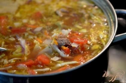 Положить овощи в щи  и варить до готовности на медленном огне .