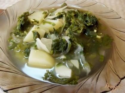 Готово! Подавайте суп теплым, со сметаной к обеду. Очень хорошо подойдут к нему в качестве закуски пирожки с яйцом и зеленью. Кушайте на здоровье=)