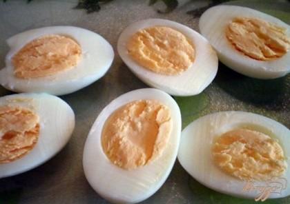 Режем яйца на половинки. Осторожно, чтобы не повредить яичные корзинки вынимаем кофейной ложечкой или чистыми руками желтки. Отставляем белки с сторону, они пока не понадобятся. Займемся начинкой.