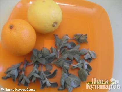 Апельсин, лимон, мяту помыть, обсушить