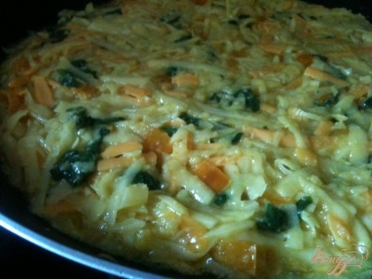На сковороду налить оливковое масло и выложить картофельную массу. Разровнять поверхность. Огонь сделать очень тихим, накрыть крышкой и оставить готовиться на 10 мин.