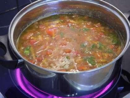 Добьавить томатную пасту и воду, посолить и поперчить