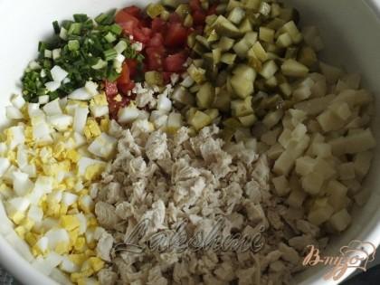 Нарезаем кубиками курицу,огурцы,картофель,яйца и помидоры.Шинкуем зелёный лук.