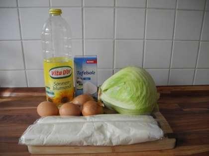 Для приготовления слоеного пирога с капустой и яйцом вам потребуется: