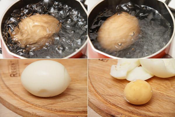 Надо заранее сварить вкрутую яйцо - положить в кастрюльку, чтобы вода полностью его покрыла, поставить на большой огонь. Когда вода закипит подождать 5 минут, сделать огонь поменьше, ещё 5 минут. Воду слить, подержать яйцо в холодной воде, чтобы легко чистилось. Варёный белок нам, к сожалению, не пригодится, придётся найти ему применение, например в праздничном салате.
