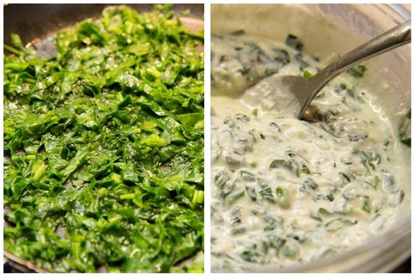Начинка на ¼ часть теста:  Готовим начинку. Моем, обсушиваем и режем шпинат. Припускаем в небольшом кол-ве сливочного масла ( + на сковороду плеснуть немного растительного, чтоб сливочное не горело). Буквально, несколько минут, пока шпинат не уменьшиться в объеме. В миске смешать рикотту (творог), шпинат, белки, мускатный орех, соль.