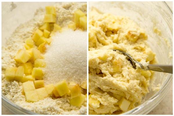 Вотрите масло в муку, добавьте сахар, пекарский порошок и яблоко (изюм). Все перемешайте, чтобы ингредиенты распределились равномерно.Добавьте молоко и сливки и перемешивайте скребком до тех пор, пока все составляющие не образуют комковатую смесь.