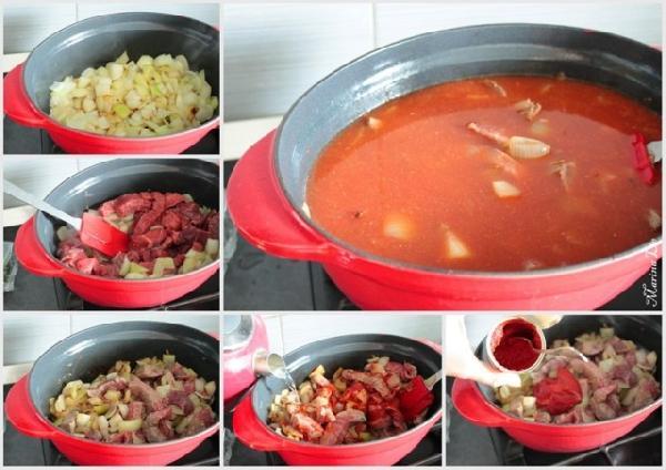 * Нагреваем пару ложек масла и обжариваем лук    * Кладём мясо, обжариваем на сильном огне    * Добавляем томатную пасту    * Заливаем водой так, что бы мясо и лук утонули.    * Даём закипеть.