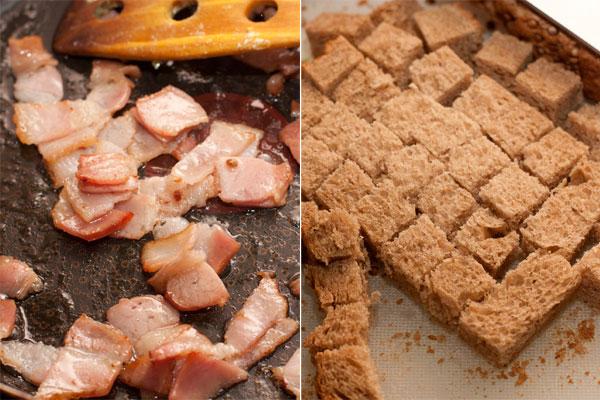 Бекон нарежьте небольшими квадратиками и вытопите из него жир на небольшом огне, помешивая. Отложите бекон, а на оставшемся жире подрумяньте кубики хлеба.