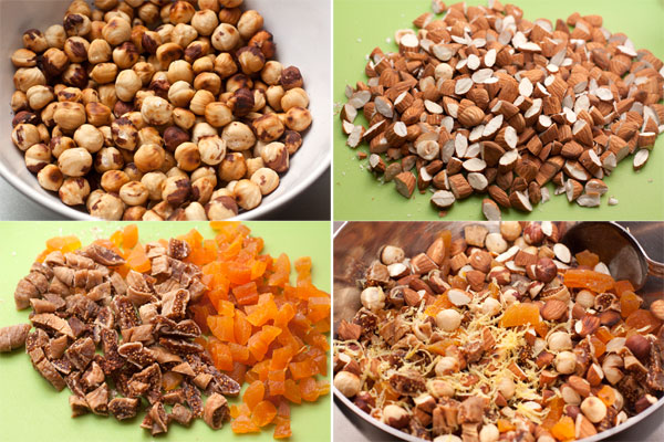 Подготовьте орехи: фундук обжарьте на сухой сковороде и потрите в полотенце, чтобы с него облетела шелуха, миндаль крупно нарубите.  Сухофрукты нарежьте небольшими кусочками.   Соедините все в миске и натрите туда же лимонную цедру.