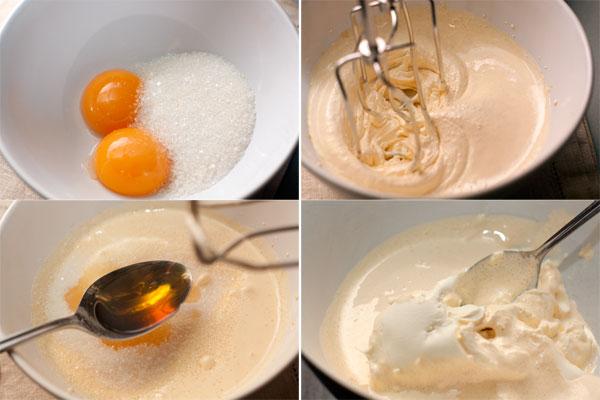 Взбейте желтки с сахаром в пышную светлую массу.  Чтобы сахар быстрее растворился используйте мелкокристаллический сахар или сахарную пудру.   Добавьте пару ложек крепкого ароматного алкоголя (коньяк или ром, например).  Маскарпоне разомните ложкой и перемешайте со взбитыми желтками.
