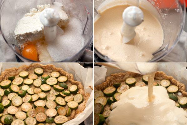 Для заливки смешайте творог, яйца и сахар, очень хорошо взбейте в блендере до однородности.  В испеченную основу из теста равномерно выложите фейхоа, залейте творожной смесью и поставьте в духовку, уменьшив нагрев до 180 градусов.
