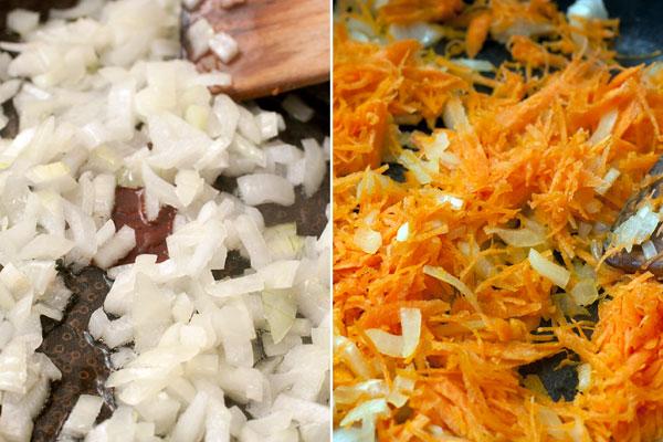 Пока варится бульон, мелко нарежьте небольшую луковицу и натрите морковь на мелкой терке.  В небольшом количестве масла обжарьте лук до прозрачности, затем добавьте морковь и готовьте все вместе до мягкости.