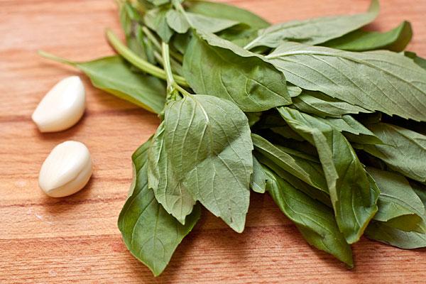 Очистите пару долек чеснока, базилик вымойте и дайте обсохнуть. На сухой сковороде подрумяньте кедровые орешки. Помешивайте, чтобы они не подгорели.