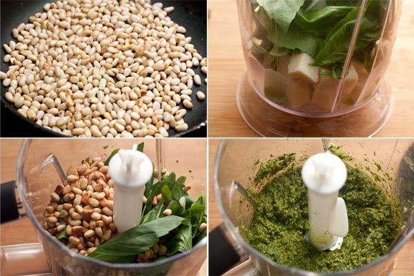 Слегка поджарьте орешки на сухой сковороде, очистите чеснок, вымойте и высушите базилик, удалив толстые стебли.  Сложите все в блендер, добавьте кубики сыра, и взбивайте, порциями добавляя оливковое масло.