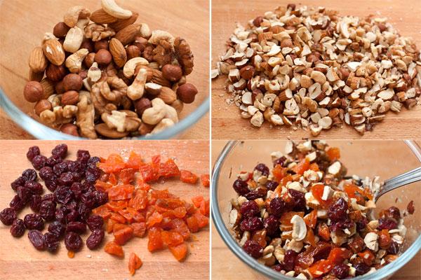 Возьмите по 50 грамм разных орехов, порубите их ножом довольно крупно, соедините с нарезанными сухофруктами.  Добавьте ром, перемешайте и отставьте в сторону.