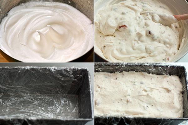 Белки взбейте до мягких пиков, затем продолжайте взбивать на высокой скорости, понемногу добавляя сахар, пока масса не станет гладкой и блестящей, а белки не будут хорошо держать форму.  Аккуратно вмешайте белки в сырную смесь, чтобы придать ей воздушность.  Форму для заморозки выстелите пищевой пленкой и выложите в нее готовую смесь. Поставьте в морозильник на несколько часов.