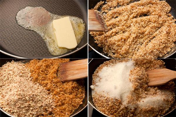 На сковороде растопите сливочное масло, обжарьте в нем хлебные крошки в течение 2 минут, затем снимите с огня и добавьте измельченный миндаль и сахар.   Перемешайте до однородности и отставьте в сторону.