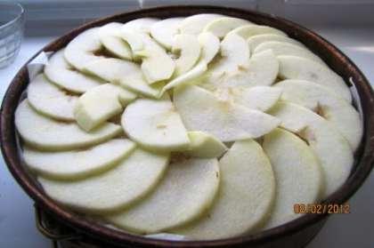 Процедуру повторить еще дважды, чтобы верхним слоем оказались яблоки. Несколько придавить своими руками слои шарлотки. Если вдруг осталась яичная смесь, в которой обмакивался хлеб, ею можно сверху смазать шедевр. Если яблоки кисловатые, то сверху можно еще подсластить сахаром.