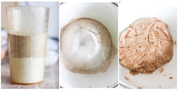 Отмеряем муку, просеиваем, добавляем растопленное масло, сметану и разрыхлитель. Замешиваем мягкое тесто.