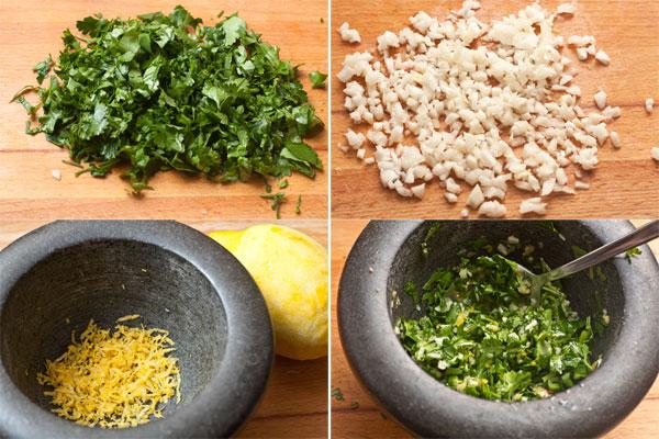 Вымытую и высушенную петрушку и чеснок мелко нарежьте, с чистого лимона снимите цедру с помощью мелкой терки.  Соедините ингредиенты, посолите и тщательно перемешайте.