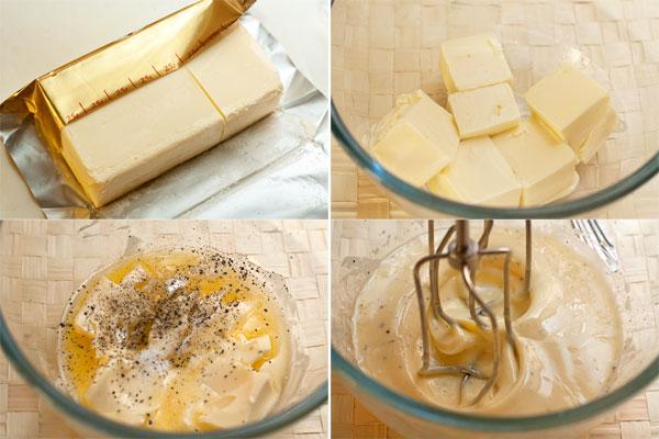 Ингредиенты для теста должны быть комнатной температуры, поэтому заранее достаньте их из холодильника.  Размягченное масло взбейте вместе с солью и перцем.