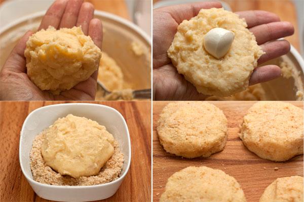 Лепить биточки лучше влажными или немного смазанными маслом, чтобы тесто меньше прилипало.   Теперь берите по столовой ложке теста, делайте из нее лепешку, в середину кладите шарик (или ломтик) моцареллы. Залепляйте, обваливайте в панировочных сухарях со всех сторон, а затем формируй круглые «шайбочки».