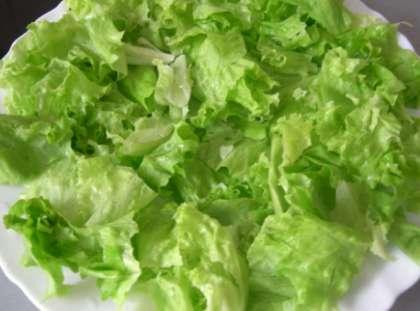 Листья салата вымойте. Просушите. Затем нарвите в тарелку крупными кусками.
