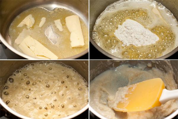 Приготовьте соус бешамель. Для этого в сотейнике растопите на слабом огне сливочное масло. Добавьте муку, размешайте и доведите до кипения. Снимите с огня и понемногу добавляйте в горячую смесь (ру) холодное молоко, очень тщательно размешивая, чтобы не было комков.