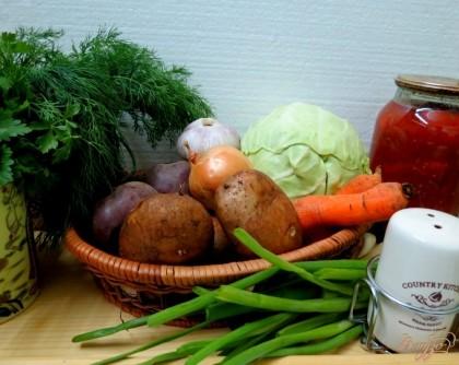 Для приготовления борща нам понадобится бульон, картофель, свекла, лук, капуста, чеснок, лук зелёный, лечо, аджика, томатная паста, зелень, перец, соль.