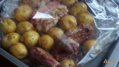 Картофель с ребрами помещаем в рукав, и завязываем рукав.