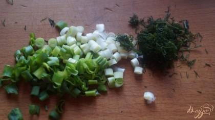 Измельчить укроп и зеленый лук.