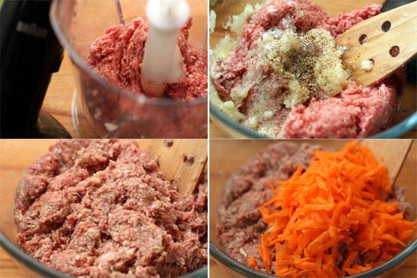 Приготовьте фарш из мяса, добавьте в него измельченный лук и чеснок, посолите и поперчите. Добавьте натертую на крупной терке морковь и перемешайте.