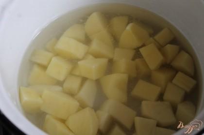 Для начала очистить картофель и нарезать крупным кубиком, поставить на медленный огонь варить.
