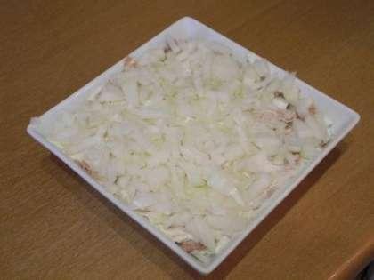 Выложить в салатницу слой лука