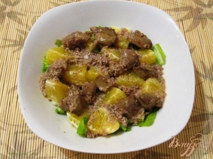 Салат из куриной печенки с апельсинами