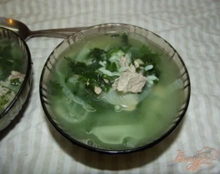 Суп рисовый со шпинатом